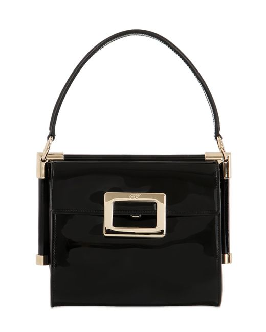 Roger Vivier | Black Miss Viv' Carre' Mini Patent Leather Shoulder Bag | Lyst
