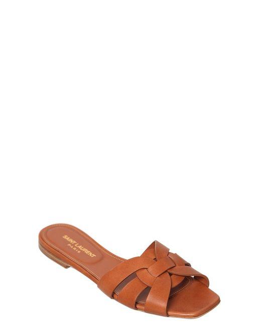 Saint Laurent 10mm Tribute Leather Slide Sandals In Brown