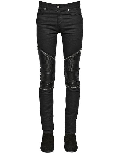 saint laurent 15cm low rise stretch denim biker jeans in. Black Bedroom Furniture Sets. Home Design Ideas