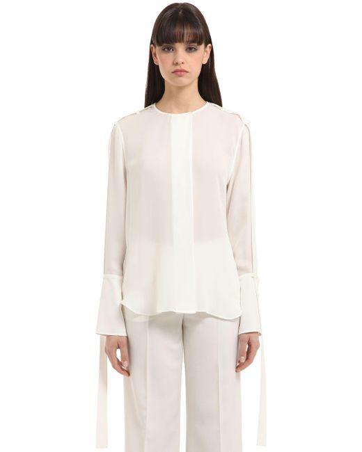 Calvin Klein | White Double Georgette Shirt | Lyst