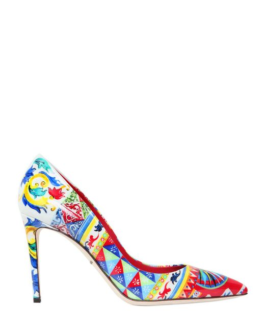 Dolce & Gabbana | Multicolor 85mm Kate Maiolica Faux Patent Pumps | Lyst