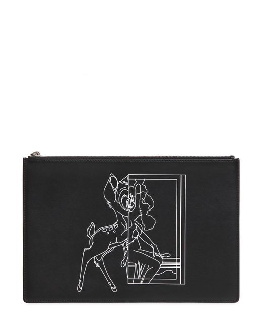 Givenchy | Black Medium Bambi Printed Leather Pouch | Lyst