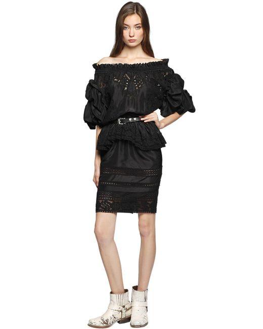 Faith Connexion | Black Washed Silk & Lace Off Shoulder Dress | Lyst