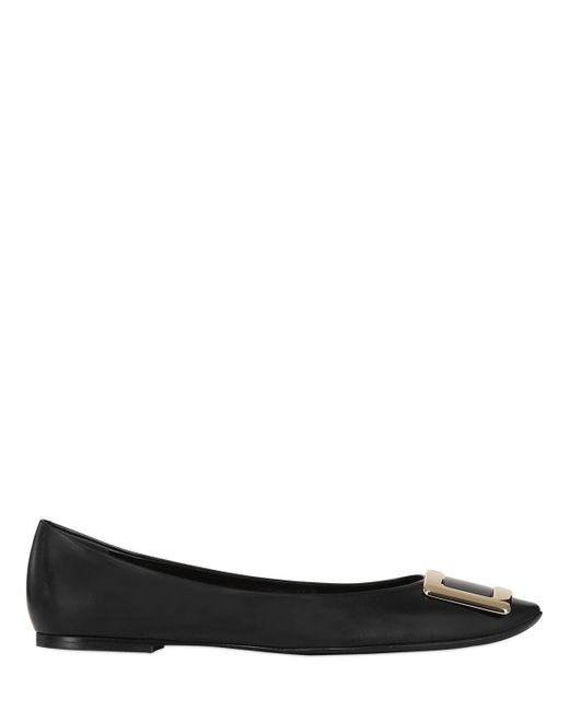 Roger Vivier | Black 10mm Belle Vivier Leather Flats | Lyst