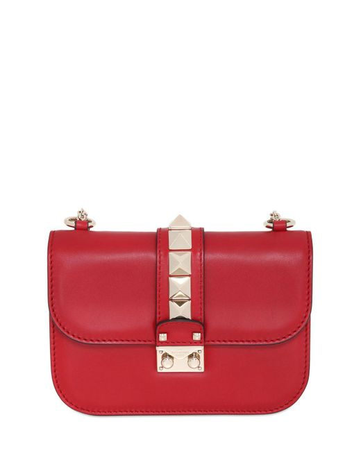 Valentino | Red Small Lock Nappa Leather Shoulder Bag | Lyst