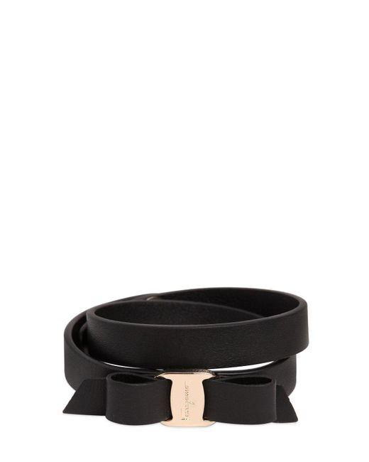 Ferragamo | Black Bow Leather Bracelet | Lyst