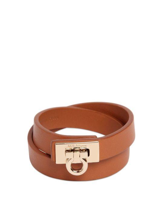 Ferragamo | Brown Gancio Leather Bracelet | Lyst