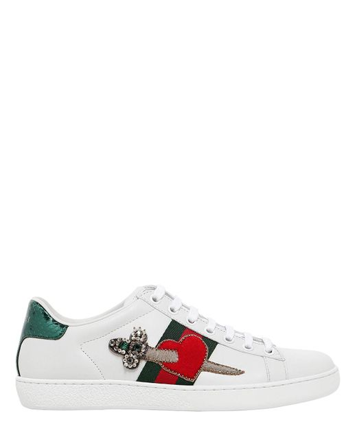 Gucci | White Pierced Heart Ace Sneakers | Lyst