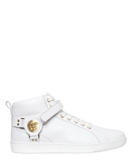 versace medusa smooth leather high top sneakers in white. Black Bedroom Furniture Sets. Home Design Ideas