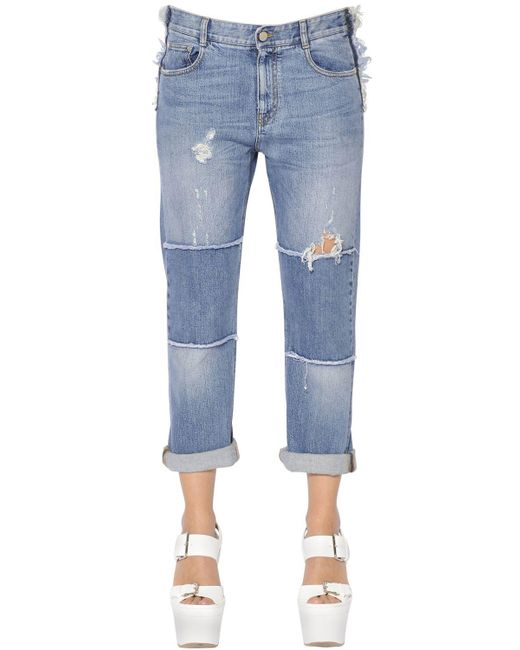 Stella McCartney | Blue Skinny Boyfriend Patchwork Denim Jeans | Lyst