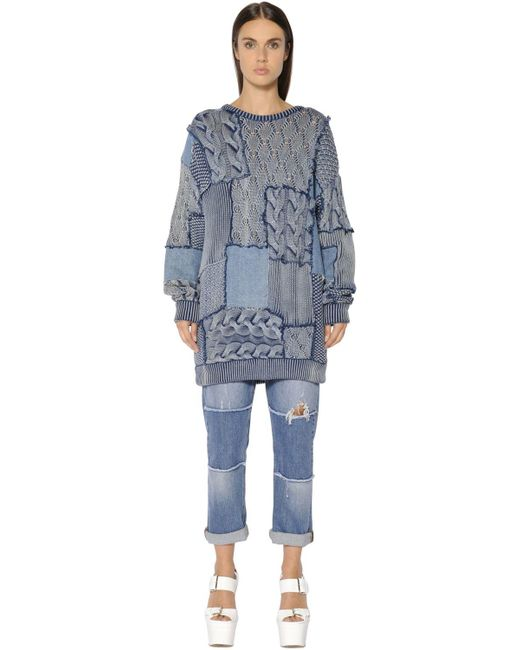 Stella McCartney | Blue Patchwork Cotton Knit & Denim Sweater | Lyst