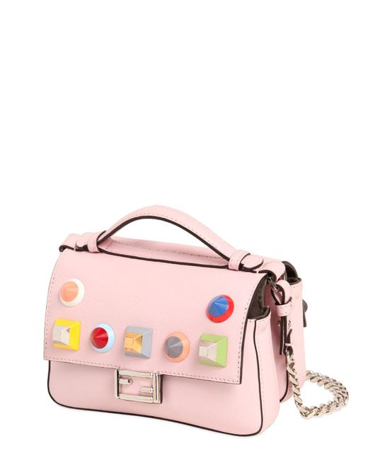 Fendi | Pink Micro Double Baguette Stud Leather Bag | Lyst