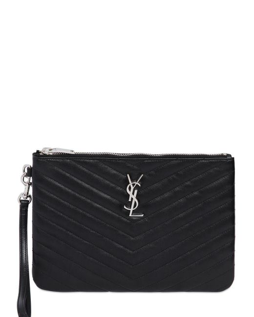 Saint Laurent | Black Quilted Monogram Leather Pouch | Lyst