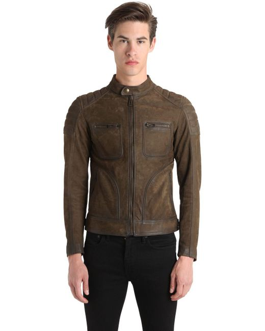 belstaff weybridge waxed leather jacket in green for men. Black Bedroom Furniture Sets. Home Design Ideas
