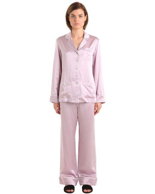 Olivia Von Halle | Pink Coco Silk Satin Pajama Set | Lyst