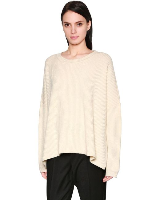 Sportmax | White Oversized Ribbed Cashmere Knit Sweater | Lyst