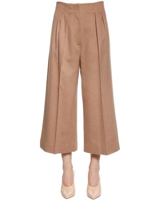 Max Mara   Natural High Waist Camel Wide Leg Cropped Pants   Lyst