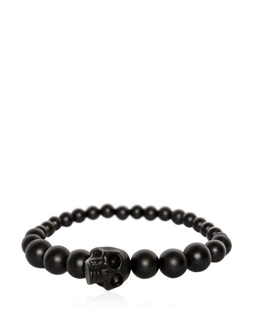 Alexander McQueen | Black Skull Onyx Ball Bracelet | Lyst