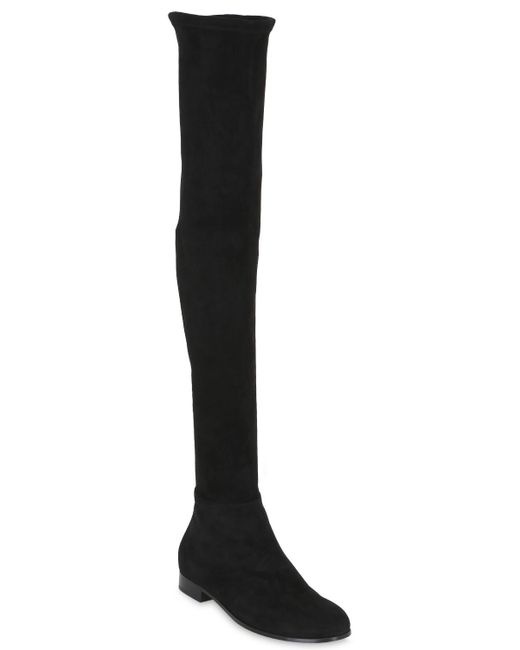 Jimmy choo Myren Flat Suede Over-the-knee Boots in Black - Save 40 ...