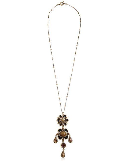 Etro   Black Flower Pendent Necklace   Lyst
