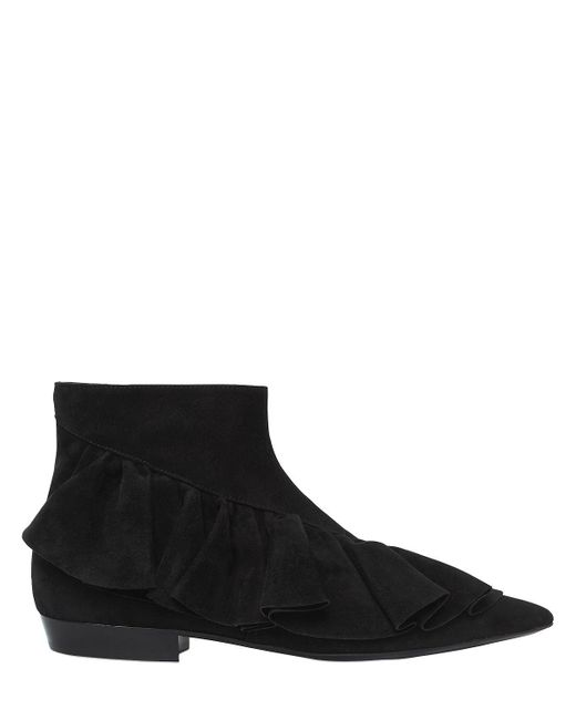 J.W. Anderson | Black 10mm Ruffle Suede Ankle Boots | Lyst