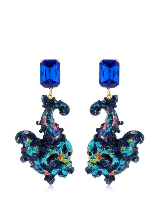 Halo | Blue Colored Earrings With Swarovski Crystals | Lyst
