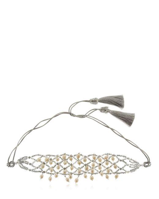 Night Market | Metallic Natural Pearls Crochet Necklace | Lyst