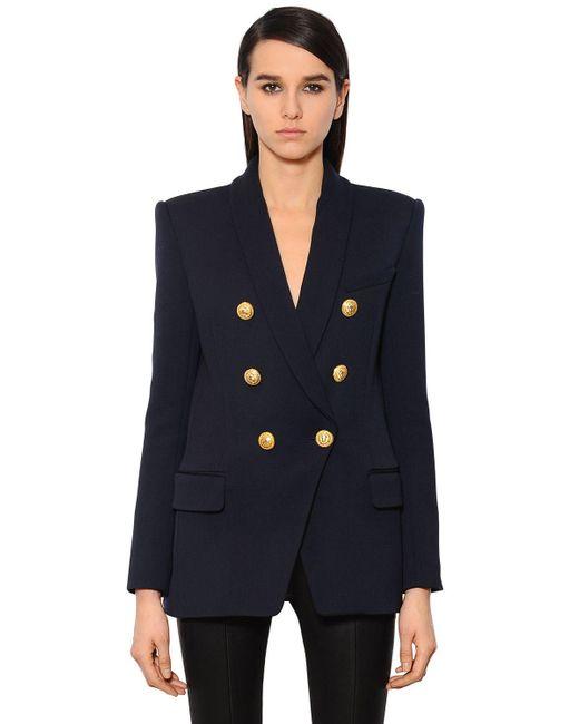 Balmain | Blue Double-breasted Wool-twill Jacket | Lyst