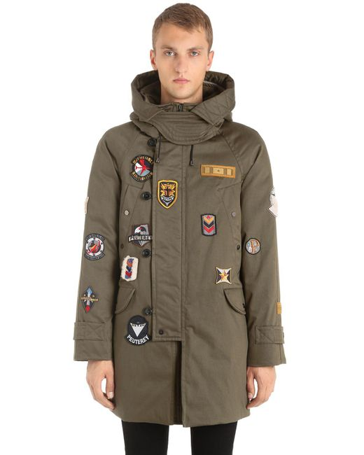 Peuterey | Green Marker Patches Canvas Parka for Men | Lyst