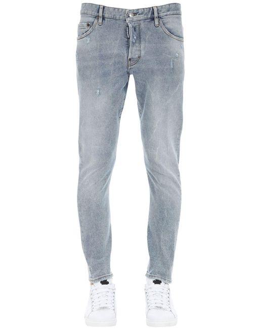 DSquared² Blue 16cm Printed Sexy Twist Denim Jeans for men