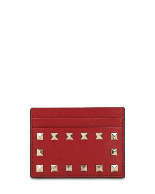 Valentino - Pink Rockstud Card Holder - Lyst