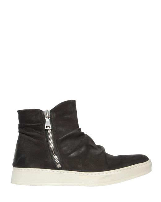 John Varvatos - Black Waxed Nubuck Leather High Top Sneakers for Men - Lyst