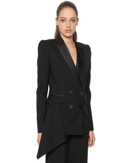 Alexander McQueen | Black Light Wool & Silk Blend Tuxedo Jacket | Lyst