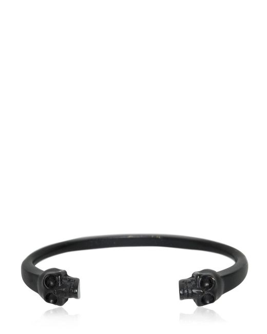 Alexander McQueen | Black Twin Skulls Enameled Bracelet for Men | Lyst