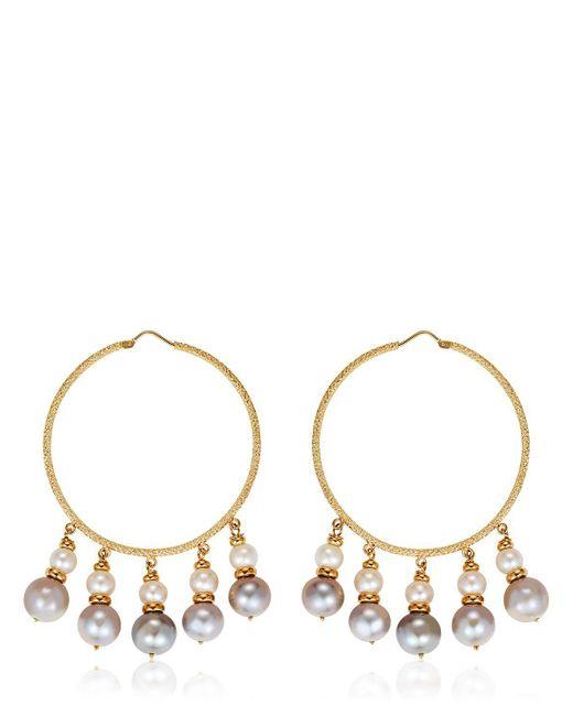 Carolina Bucci - Metallic Medium Hoops W/ Pearls - Lyst