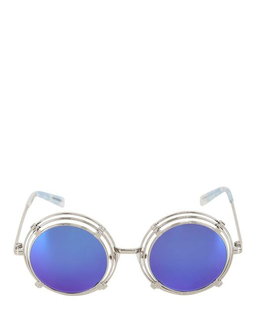 House of Holland - Metallic Spring Metal Rounded Sunglasses - Lyst