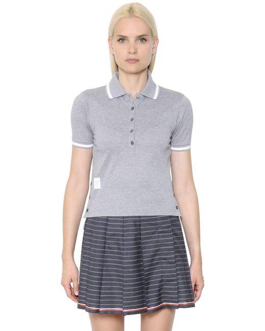Thom Browne - Gray Cotton Piqué Polo Shirt - Lyst