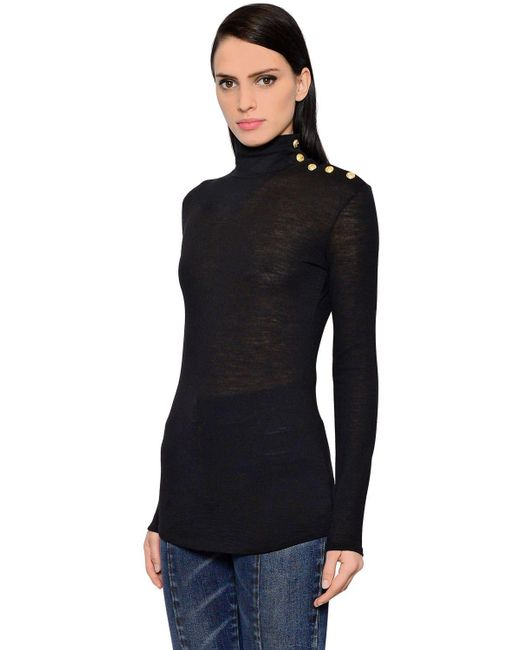 Balmain - Black Gold Buttons Turtleneck Wool Sweater - Lyst