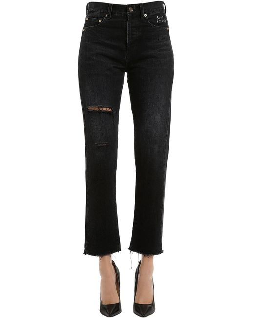 Saint Laurent - Black Embroidered & Ripped Cropped Denim Jeans - Lyst