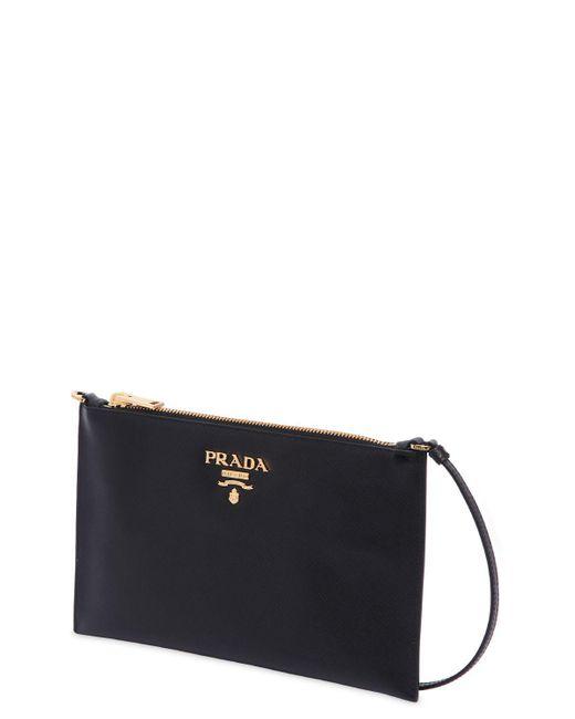 29a97105a6d0d5 ... best price prada black saffiano leather flat shoulder bag lyst b427f  c8023