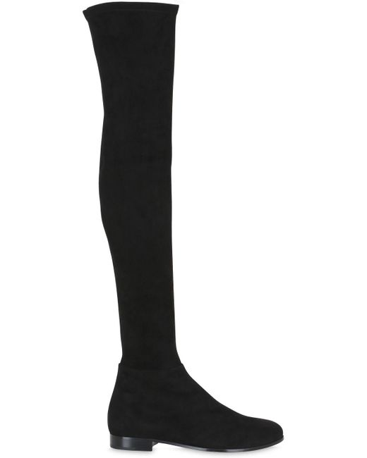 Jimmy Choo - Black Myren Stretch-Suede Over-The-Knee Boots - Lyst