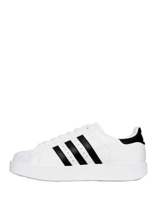 lyst adidas superstar audace di cuoio bianco originali per le scarpe