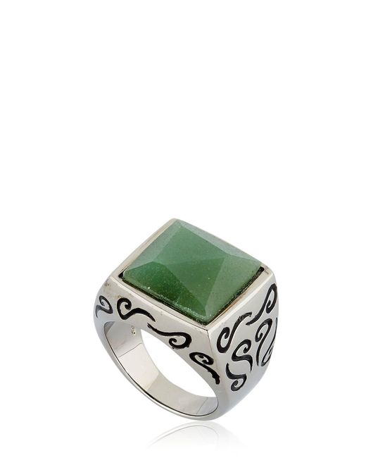 MARCO DAL MASO - White Ara Engraved Ring With Aventurine for Men - Lyst