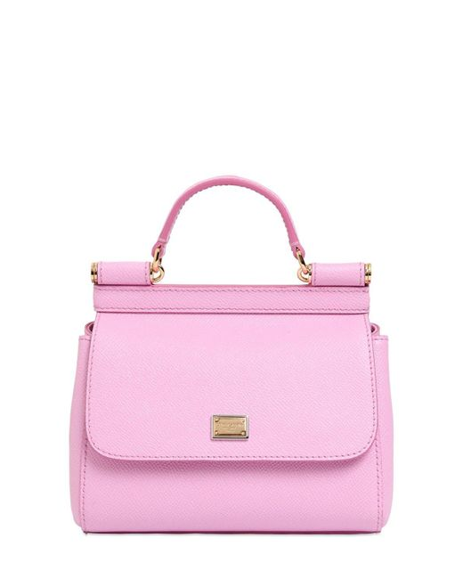 Dolce & Gabbana | Pink Micro Sicily Dauphine Leather Bag | Lyst