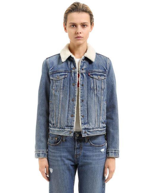 Levi's - Blue Faux Shearling & Cotton Denim Jacket - Lyst