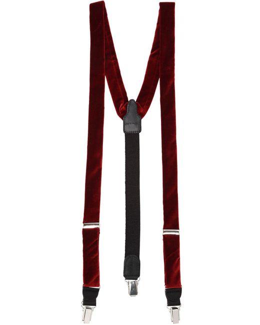 Etro - Red Velvet Suspenders for Men - Lyst