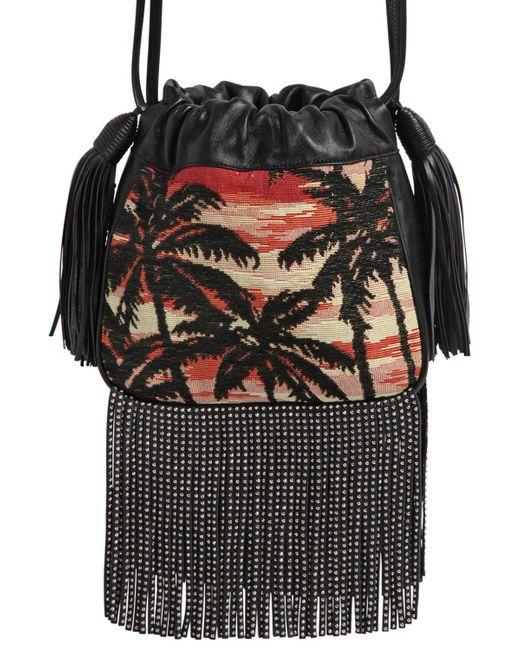 Saint Laurent | Multicolor Helena Studded Fringe Jacquard Bag | Lyst