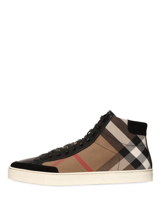 ... Burberry - Black Painton Leather Sneakers for Men - Lyst ...