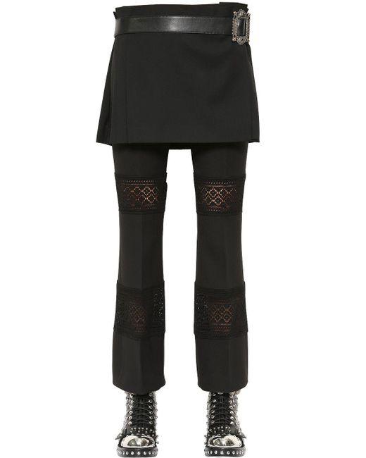 Alexander McQueen - Black Wool Crepe Kilt With Leather Belt - Lyst