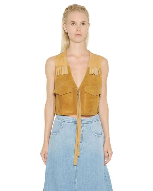 MM6 by Maison Martin Margiela | Brown Fringed Suede & Nappa Leather Vest | Lyst